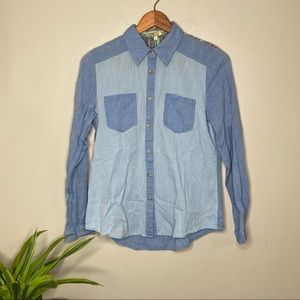 Cecico Block Chambray Aztec Button Up Top 4/$25